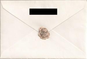 山咲千里さんからの手紙の封筒(裏)